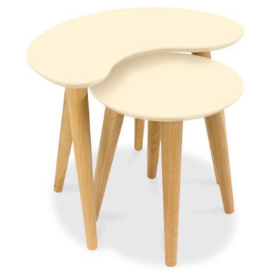 Bentley Designs Oslo Oak Nest of Tables with Ivory Tops