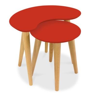 Bentley Designs Oslo Oak Nest of Tables with Orange Tops