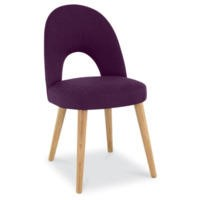 Bentley Designs Pair of Oslo Upholstered Dining Chairs in Plum and Oak
