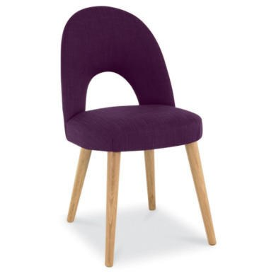 Bentley Designs Pair Of Oslo Upholstered Dining Chairs In Plum And Oak Furn
