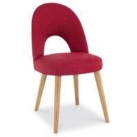 Bentley Designs Pair of Oslo Upholstered Dining Chairs in Red and Oak