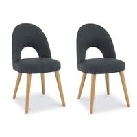 Bentley Designs Pair of Oslo Upholstered Dining Chairs in Steel and Oak