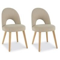 Bentley Designs Pair of Oslo Upholstered Dining Chairs in Stone and Oak