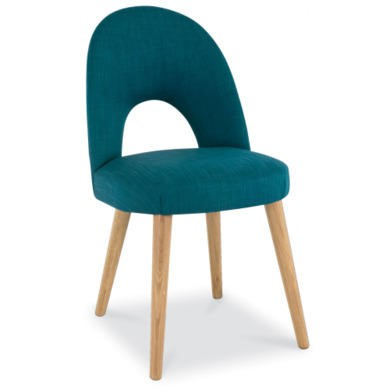 Bentley Designs Oslo Oak Upholstered Dining Chair in Teal Fabric