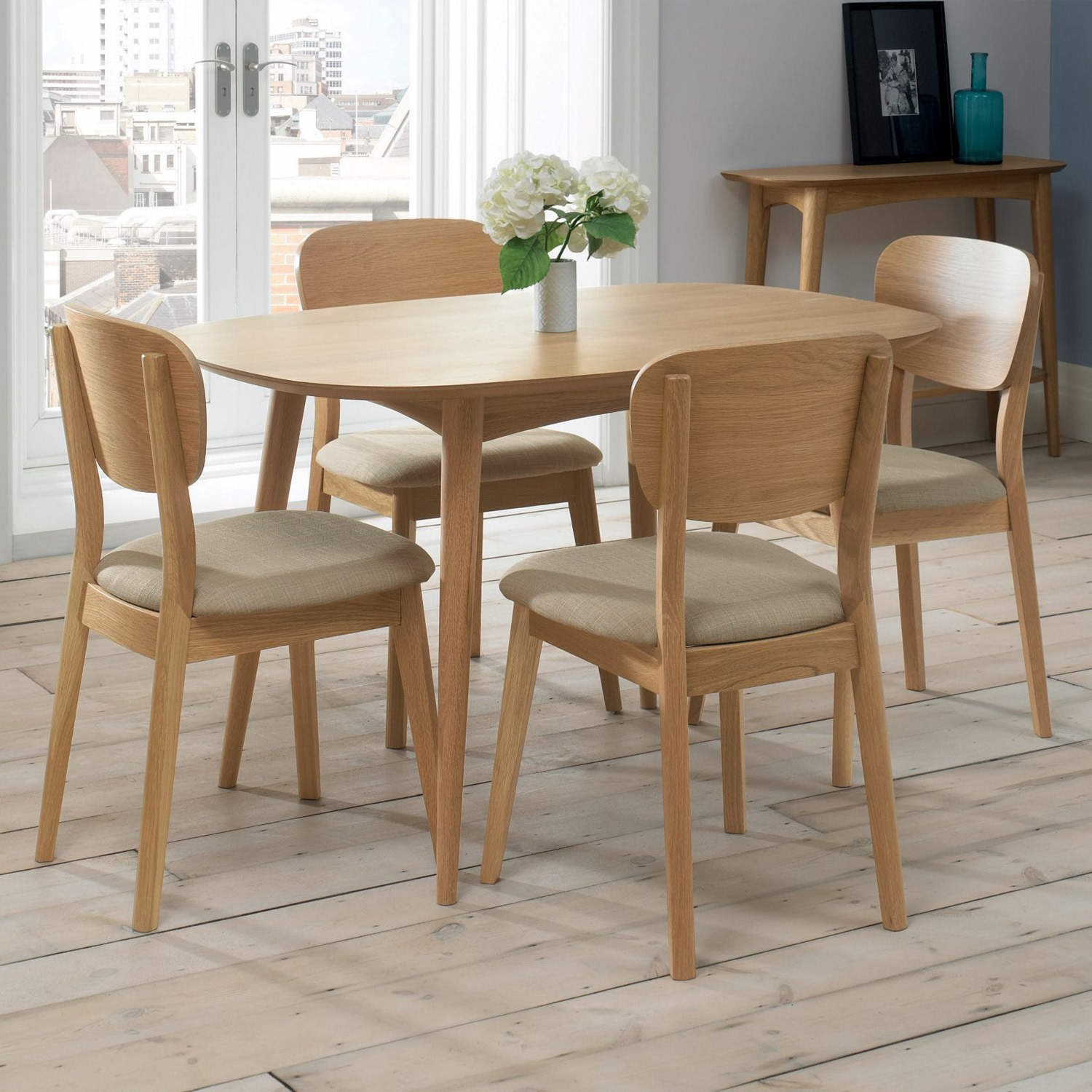 bentley designs pair of oslo oak dining chairs