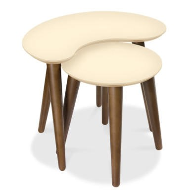 Bentley Designs Oslo Walnut Nest of Tables with Ivory Tops