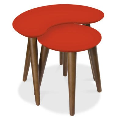 Bentley Designs Oslo Walnut Nest of Tables with Orange Tops