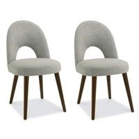Bentley Designs Pair of Oslo Upholstered Dining Chairs in Linen and Walnut