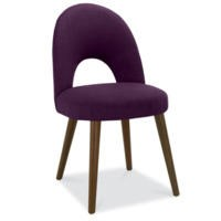 Bentley Designs Pair of Oslo Upholstered Dining Chairs in Plum and Walnut
