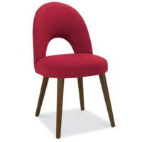 Bentley Designs Pair of Oslo Upholstered Dining Chairs in Red and Walnut