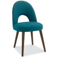 Bentley Designs Pair of Oslo Upholstered Dining Chairs in Teal and Walnut