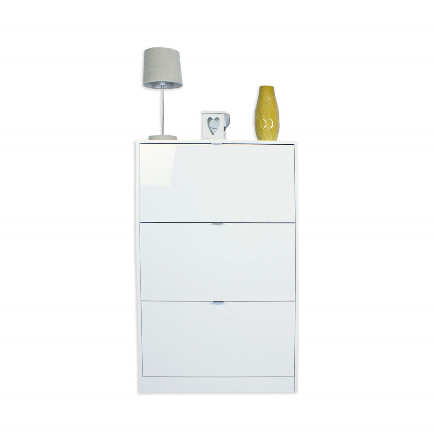 GRADE A3   Billi Shoe Cabinet In White High Gloss   18 Pairs
