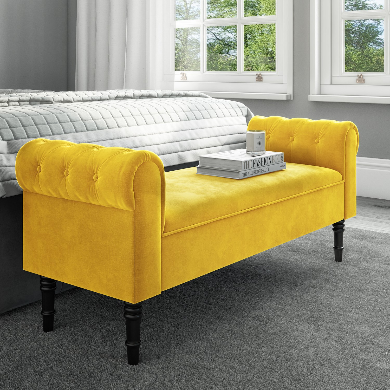 Grade A1 Safina Yellow Velvet Bench With Quilted Arm Rest Furniture123