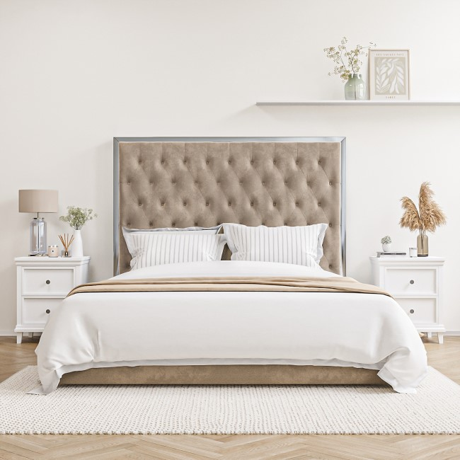 Beige Velvet Double Ottoman Bed with Chrome Headboard Trim - Aaliyah