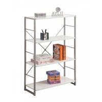 Cabrini Storage Home Office Bookcase in Chrome and White
