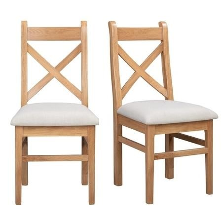 Pair of Solid Oak Dining Chairs with Cream Fabric Seat - Adeline