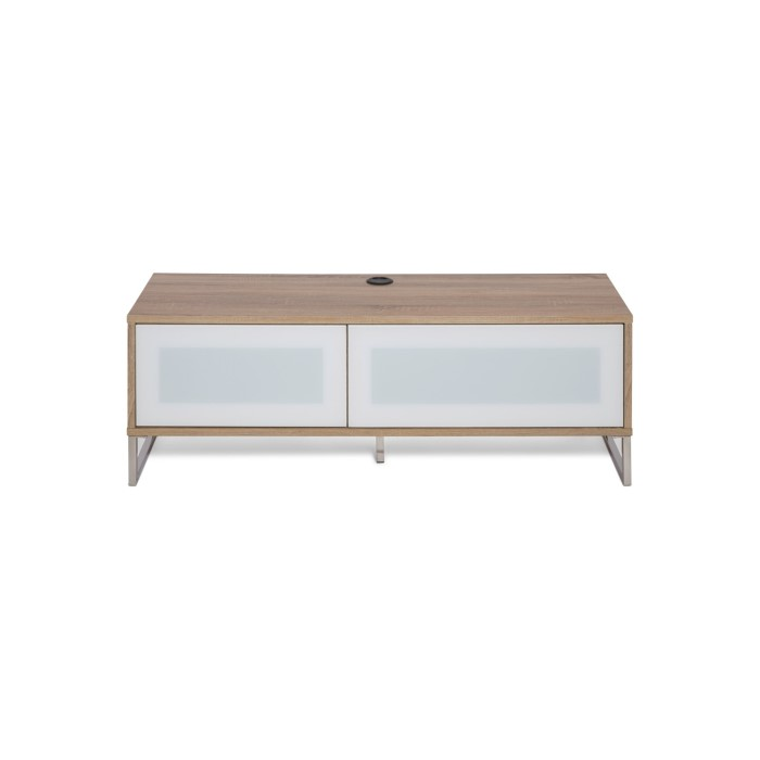 Helium Wall Mounted Tv Unit In Oak With White Infra Red Friendly