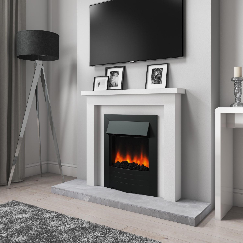 Grade A1 Amberglo Modern Electric Fireplace Insert In Black