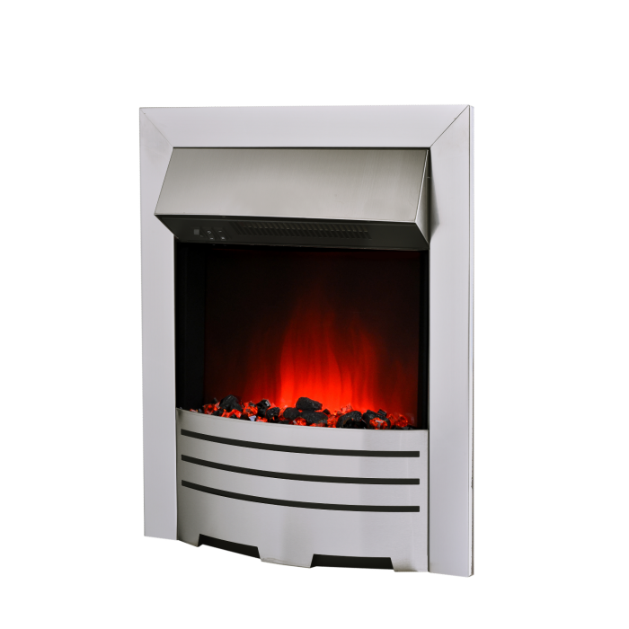 Amberglo Electric Fireplace Insert In Brushed Steel With Coal Pebble
