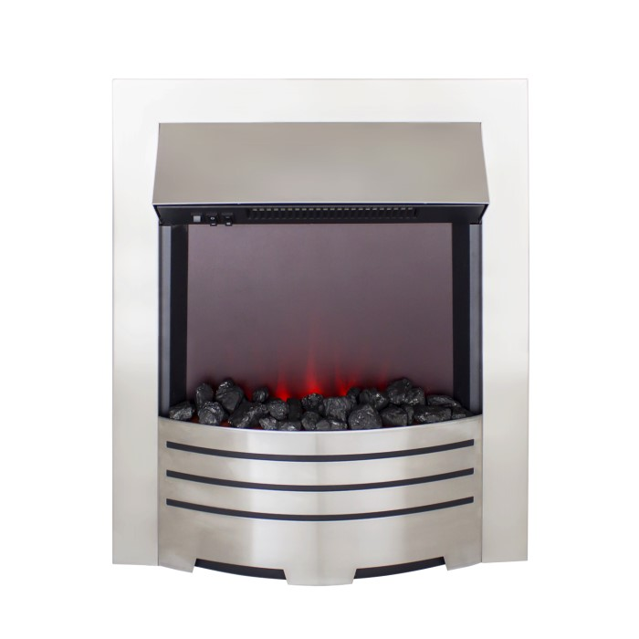 Amberglo Electric Fireplace Insert In Brushed Steel With