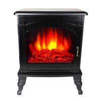 AmberGlo Large Electric Wood Burning Stove Fire - Black