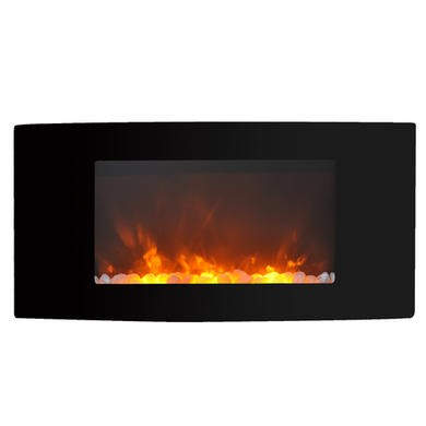 AmberGlo Modern Electric Wall Mounted Fire with Curved Glass
