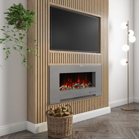 GRADE A1 - AmberGlo Grey Wall Mounted Electric Fire with Log & Crystal Fuel Beds