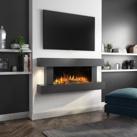 AmberGlo Grey Wall Mounted Electric Fireplace Suite with Log & Pebble Fuel Bed