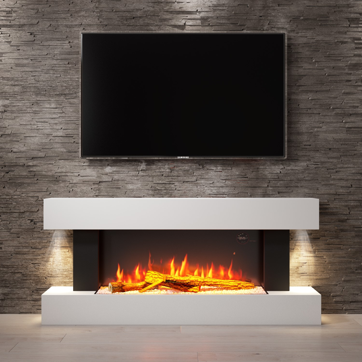 Grade A2 Amberglo White Wall Mounted Electric Fireplace Suite