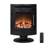 AmberGlo Freestanding Electric Fire in Black with Curved Design