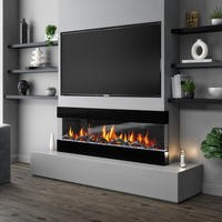 AmberGlo Mirrored Electric Wall Mounted Fire in Black - 60 Inch