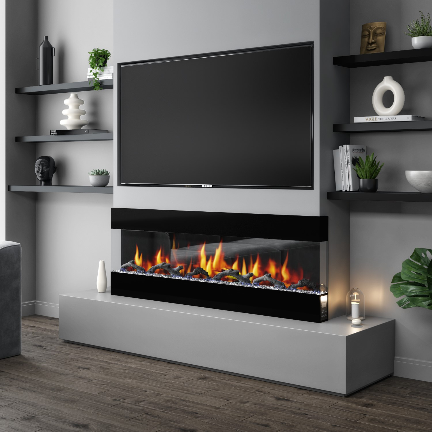 20 Inch Electric Wall Mounted Fire in Black   Amberglo