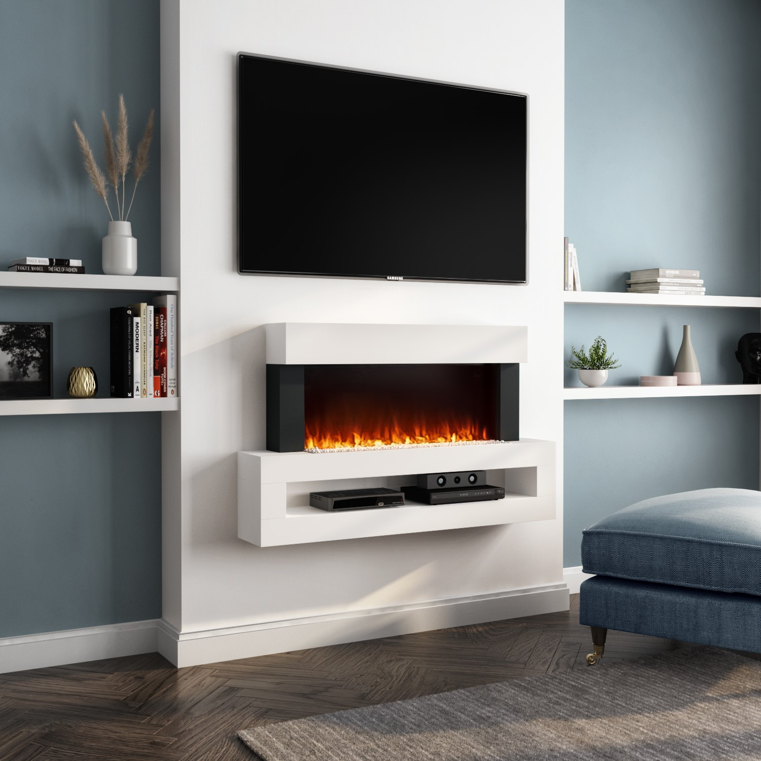 Amberglo White Wall Mounted Electric Fireplace Suite With Led Shelf Furniture123