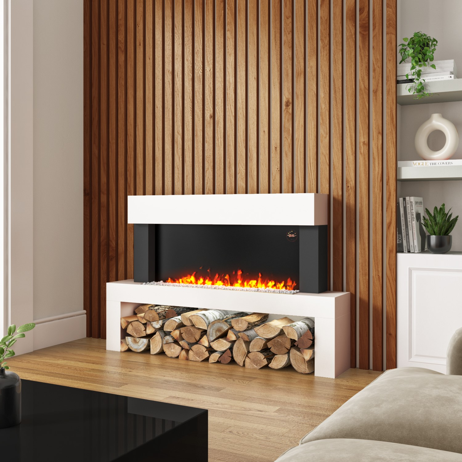 AmberGlo Floor Standing Electric Fireplace Suite in White  Log & Crystal Fuel Bed