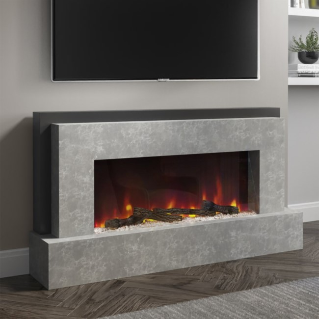 AmberGlo Grey Electric Fire Suite - Wifi & Alexa Enabled