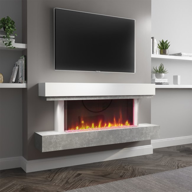 AmberGlo Grey and White Electric Fire Suite with LED Lights - Wifi & Alexa Compatible