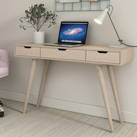 Pale Wood Desk with Drawers - Nordic - Ajax