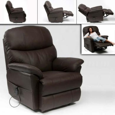Restwell Lars Leather Faced Dual Motor Electric Recliner Armchair - Black