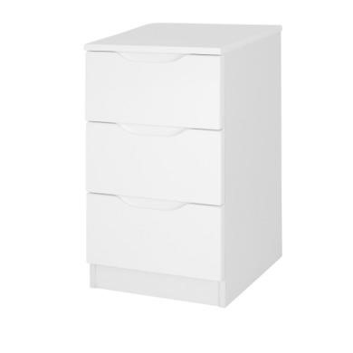 One Call Furniture Alpine 3 Drawer Bedside Chest in White High Gloss