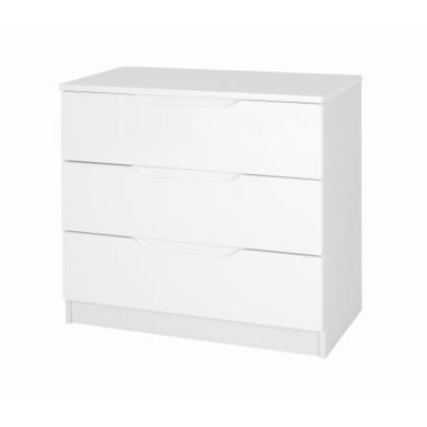 One Call Furniture Alpine 3 Drawer Chest in White High Gloss