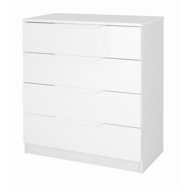 One Call Furniture Alpine 4 Drawer Chest in White High Gloss