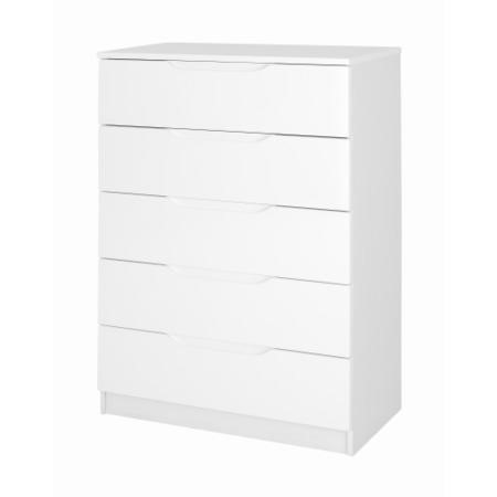 One call furniture alpine 5 drawer chest in white high for Alpine high gloss bedroom furniture