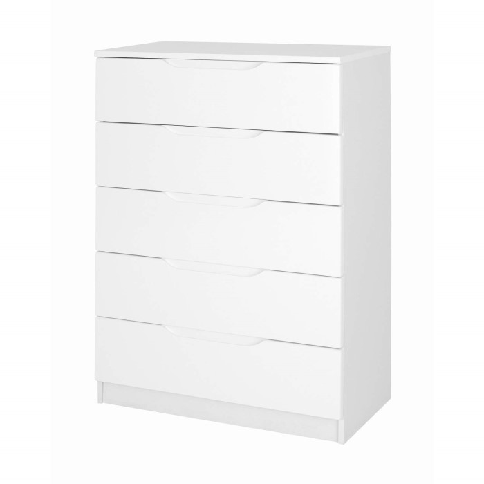one call furniture alpine 5 drawer chest in white high