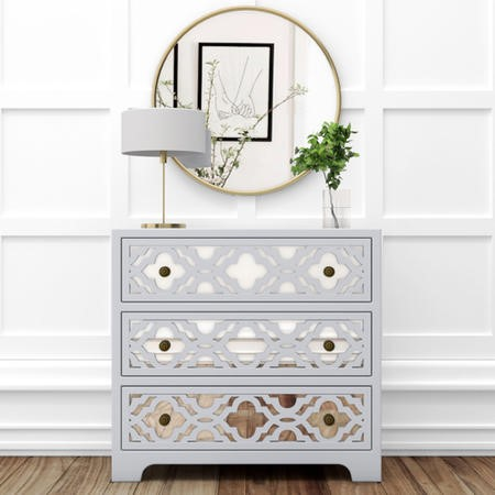 Alexis Mirrored 3 Drawer Chest of Drawers in Pale Grey with Carved Detail