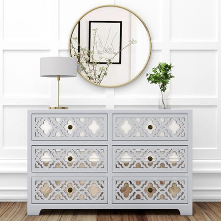 Alexis Mirrored 6 Drawer Chest of Drawers in Pale Grey with Carved Detail