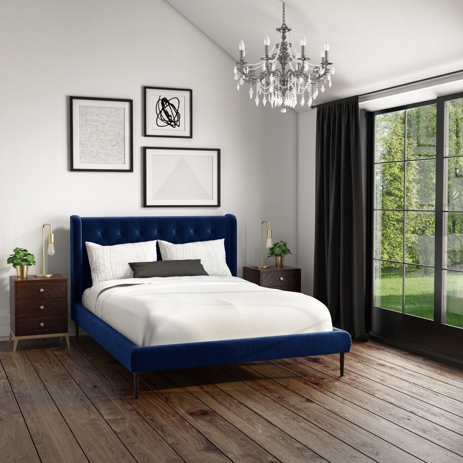 Amara Double Bed Frame In Navy Blue Velvet With Quilted Headboard Furniture123