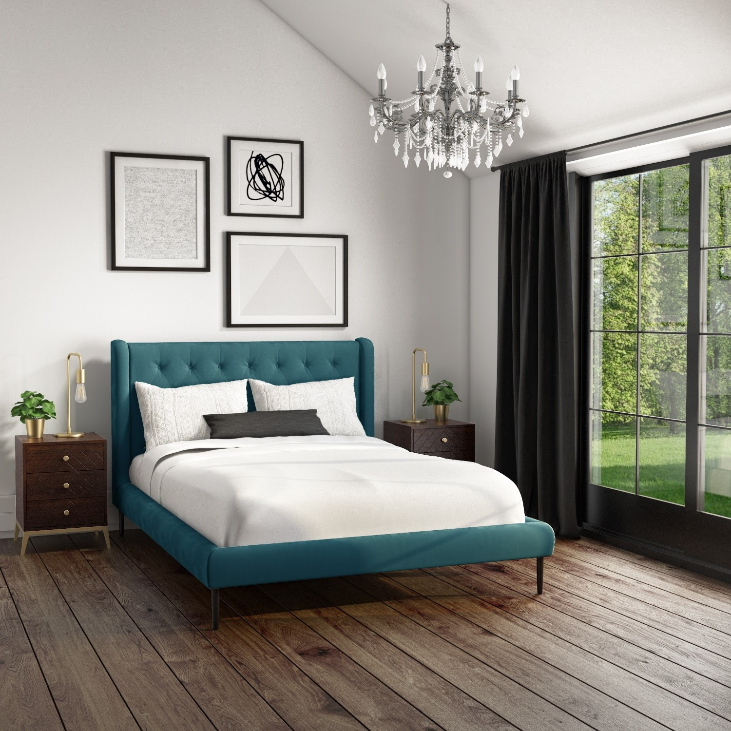 Amara King Size Bed Frame In Teal Velvet With Quilted Headboard Furniture123