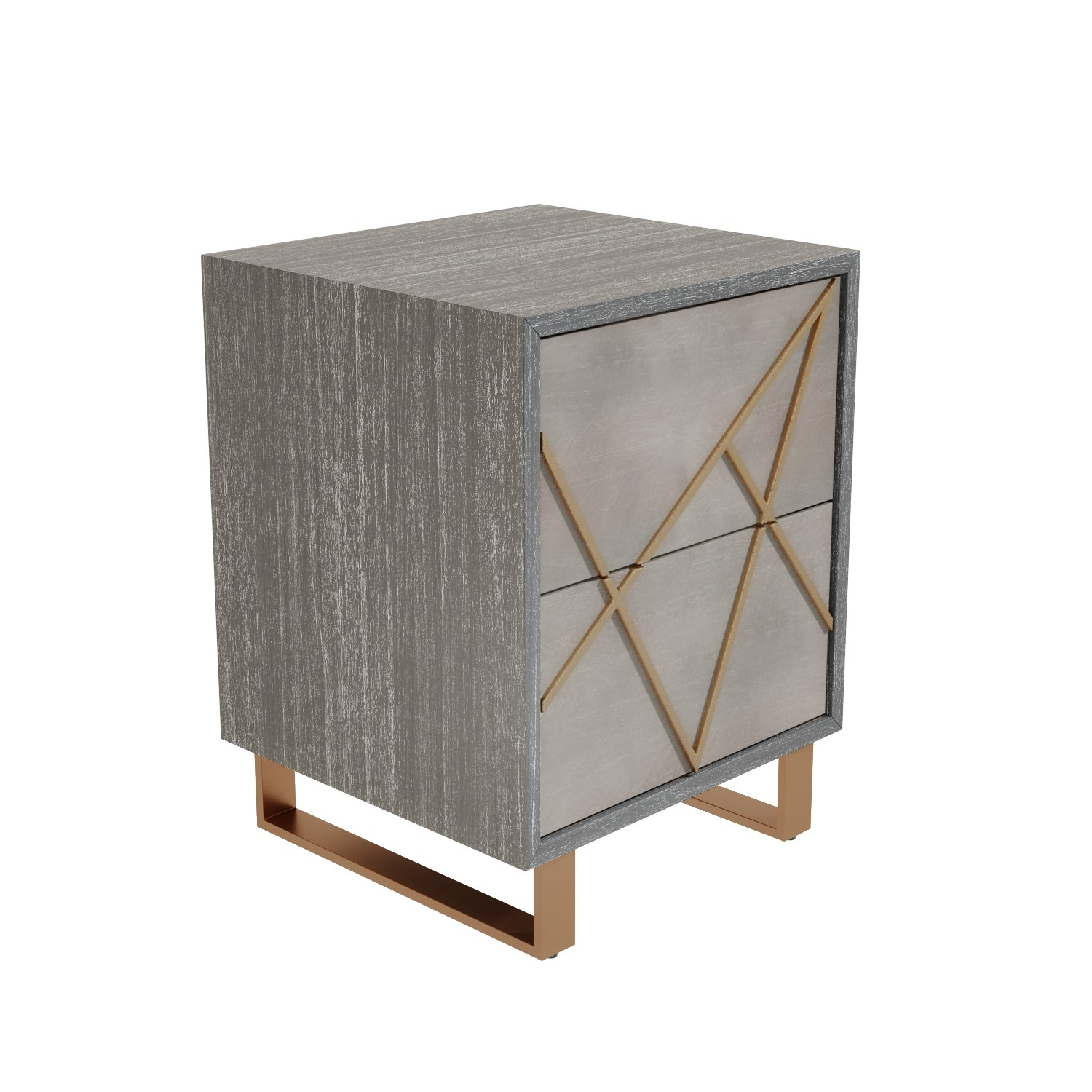 Anastasia 2 Drawer Bedside Table In Taupe With Gold Painted Wooden Trim Furniture123