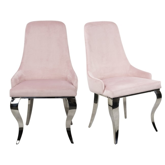 Set of 2 Baby Pink Velvet Dining Chairs with Chrome Legs - Angelica