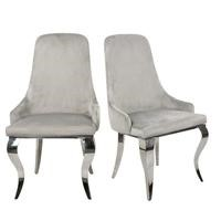 Angelica Dining Chairs in Grey Velvet